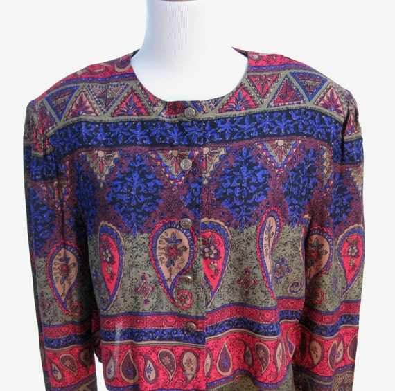 Colorful two piece paisley outfit with jacket style top and gathered skirt from the late 80s in jewel tones
