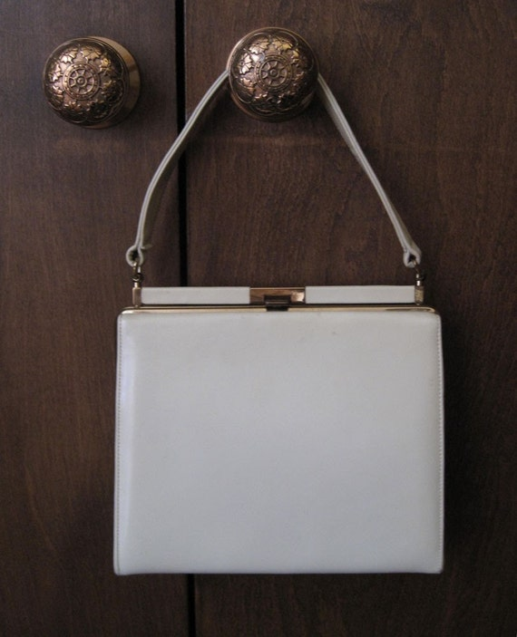 60s Crouch and Fitzgerald ivory colored leather handbag