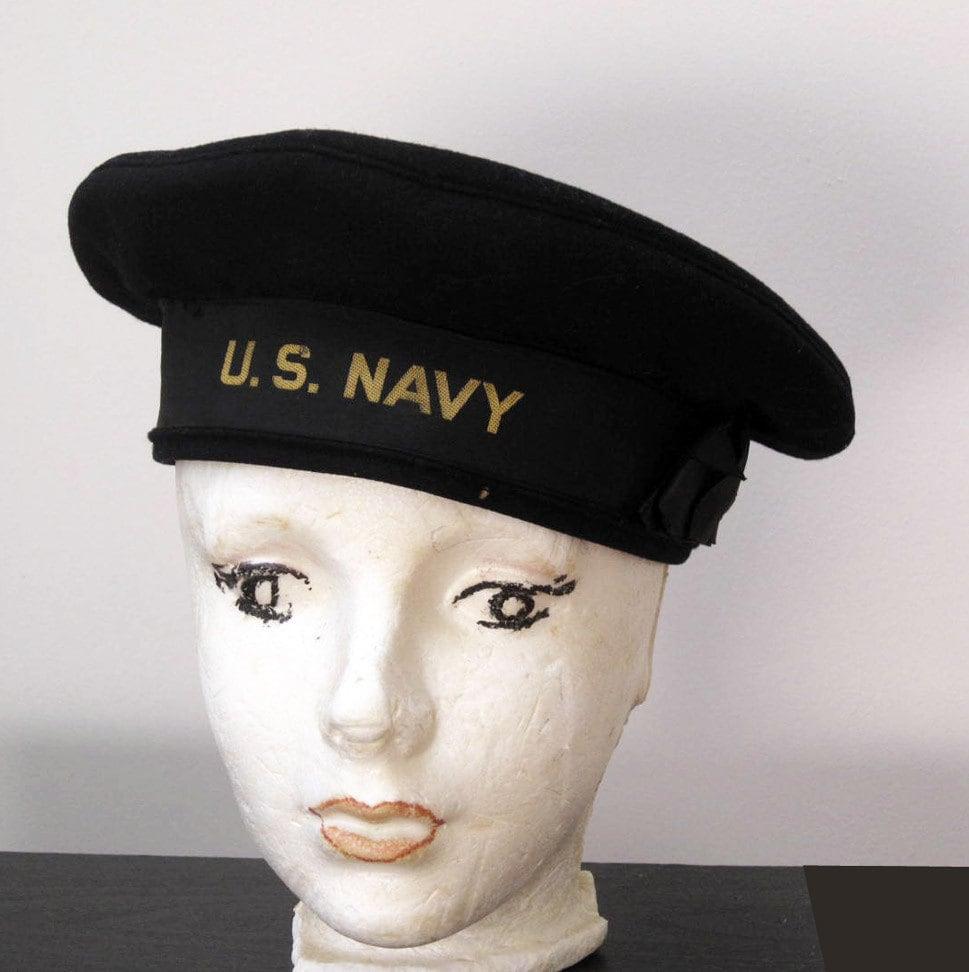 Vintage Us Navy Enlisted Mans Flat Top Dress Blues Hat