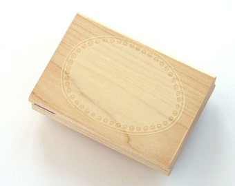 Large Dot Label Frame Rubber Stamp