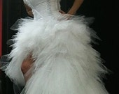 White Peacock or Mermaid Tutu Corset Wedding Gown, Short in front , High-Low