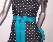 Apron, Cute, Sexy, Pin-Up, Retro, Apron, Turquoise, Polka-dots, Scotch Guarded