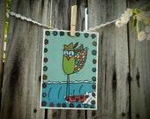 Peace Owl Longboard Surfing Free Bird 5 x 7 print