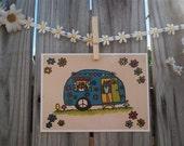 Peace Owl Retro RV Camper Adventure Mobile 5 x 7 print