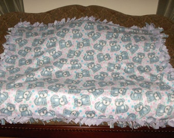 Gray Dogs on Pink Lavender Back Fleece Tie Blanket No Sew Fleece Blanket Pet Blanket Dog Blanket 48x60