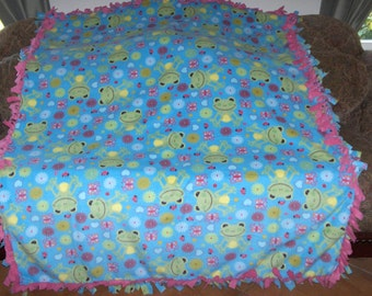 Green Frogs on Turquoise Hot Pink Back Fleece Tie Blanket No Sew Fleece Blanket 60x72 Approximate size