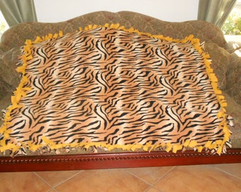 Black Tiger Stripes on Gold Gold Back Fleece Tie Blanket No Sew Fleece Blanket Fleece Throw No Sew Throw 48x60 Approximate size