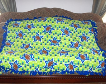 Footballs and Stars on Lime Green Blue Back Fleece Tie Blanket No Sew Fleece Blanket 48x60 Approximate size