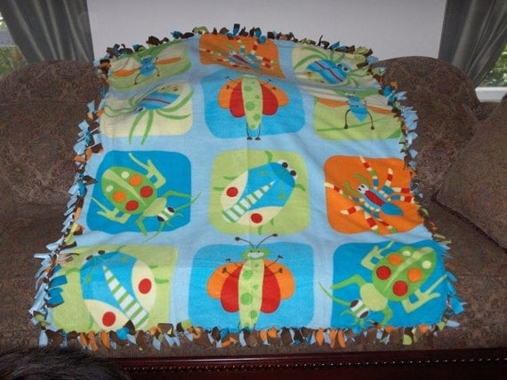 Bugs Insects on Light Blue Reverses to Brown with Multi Color Dots Fleece Tie Blanket No Sew Fleece Blanket 48x60 Approximate size