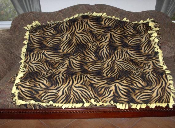 Black Brown Gold Tiger Stripes Light Yellow Back Fleece Tie Blanket No Sew Fleece Blanket 48x60 Approximate size