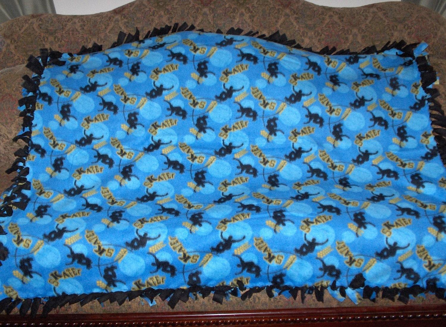 Fleece Tie Blanket Skateboarding On Med Blue Black Back 48x60