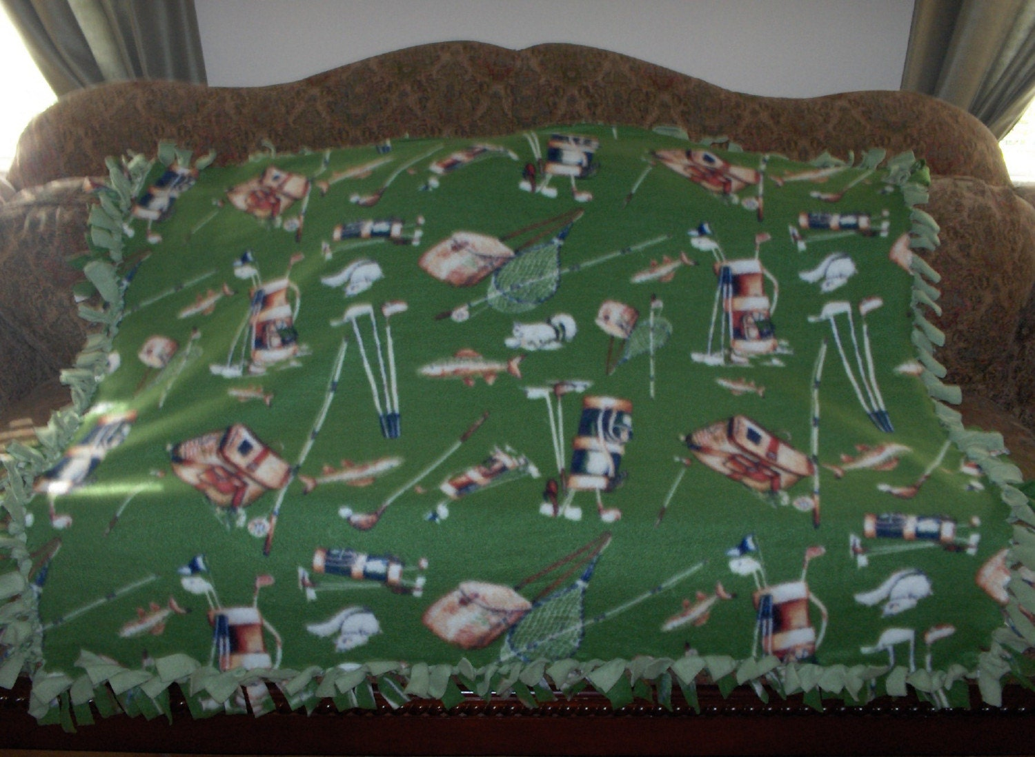 fleece tie blanket fishing gear and golf clubs on by janetscrafts