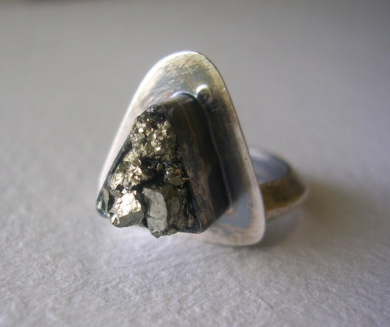 HALF OFF Sterling Silver and Pyrite Triangle Ring