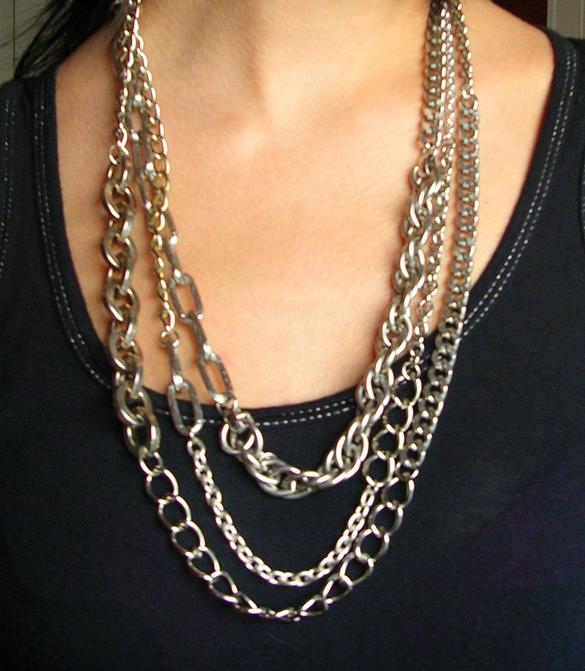 long layered chunky necklace. Black Bedroom Furniture Sets. Home Design Ideas