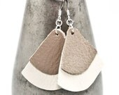 Leather Earrings - Cream / Taupe (Bells)