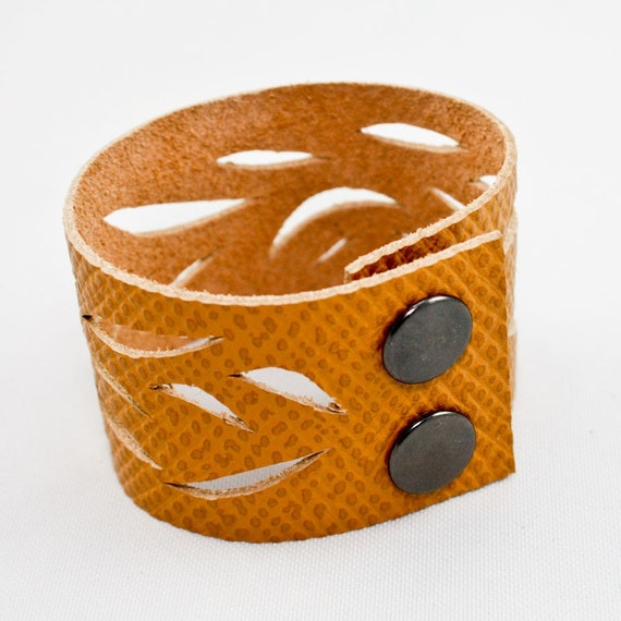 Leather Cutout Cuff (Curry Yellow)