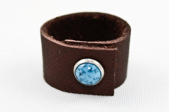 Brown Leather Ring w/ Turquoise Stud (8)