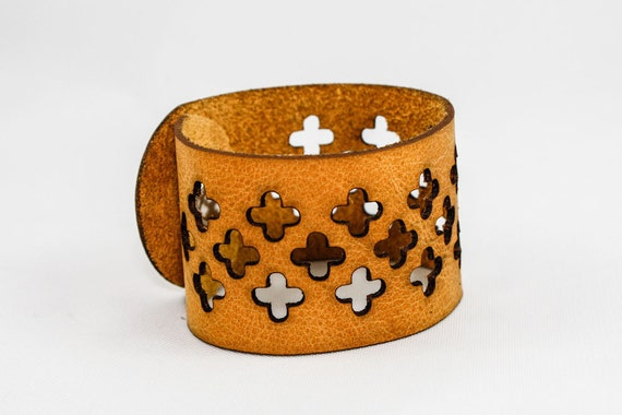 Leather Cuff - Cross Cutouts (Mustard Yellow)