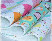 Set of 3 Contoured Terry Cloth n Flannel Burp Cloths -  Pastal Animals Dots n Argyle