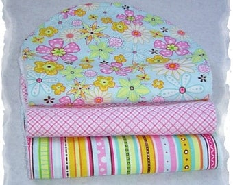 Set of 3 Contoured Terry Cloth n Flannel Burp Cloths - Pink, Brown n Blue Boutique quality