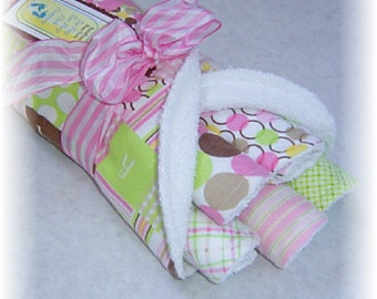 Set of 6 Contoured Terry Cloth n Flannel Burp Cloths - Pink, Brown n Green Dots