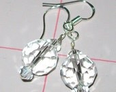 Crystal Faceted glass and sterling silver earrings.