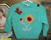 Eco-friendly Upcycled, redesigned, repurposed, Toddler, Girls, appliqued pullover sweater