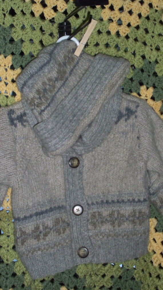Felted Wool toddler fair isle cardigan sweater and hat,  100% repurposed upcycled  size 3