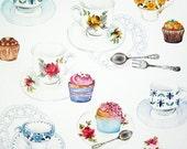 Vintage teacup and cupcake card