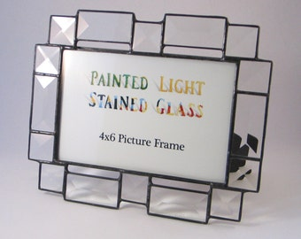 4x6 Stained Glass Clear Bevel Picture Frame