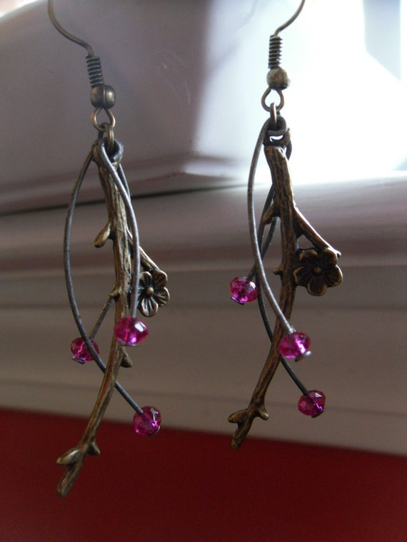 Cherry Blossom Dangle Earrings- Fall Twig Earrings-Nature Branch
