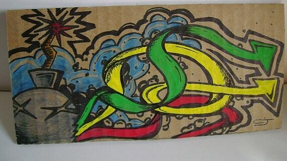 Bomb Explosion - Urbar Art on cardboard By CJ