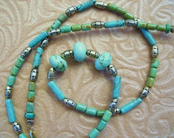 Blue and green turquoise necklace with brass beads