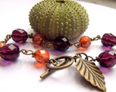 RESERVED FOR SHAHMAIN - Fall Bracelet, Autumn Colors, Leaf, Copper, Beaded, Orange, Purple, Wire Wrapped, Fall Colors Bracelet, Burnt Orange