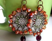 Wire Wrapped Earrings Orange with copper Handmade