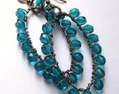 Teal Earrings, Oval Hoops, Blue Beaded Earrings, Long Dangle Big large Wire Wrapped Bohemian Jewelry Large Statement Earrings, Bold Colorful