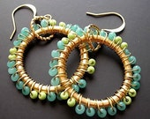 Teal Beaded Earrings, Gold Hoop Earrings, Wire Wrapped Hoops Big Large Statement Aqua Turquoise Mint Jewelry Apple Green Lime Green Jewelry,