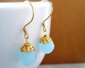 Drop Earrings, Dangle, Aqua, Turquoise,  Amazonite, Gold Filled Earrings, Simple, Elegant, Vermeil, Bohemia Jewelry, Bridal Accessories,
