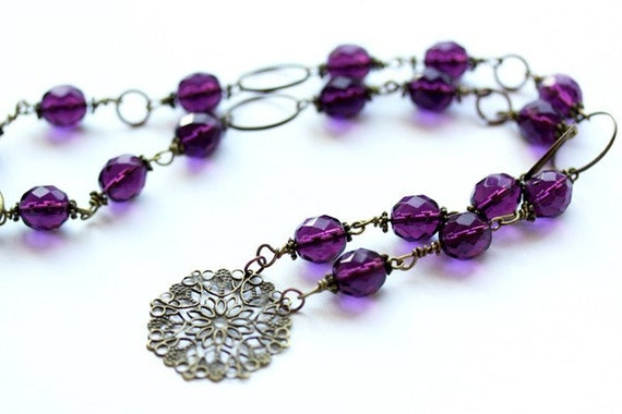 Purple Pendant, Beaded Necklace Copper Hoops, Wire Wrapped Bohemian Filigree Beadwork, Large Crystals, Plum Jewelry, Handmade Wire Jewelry