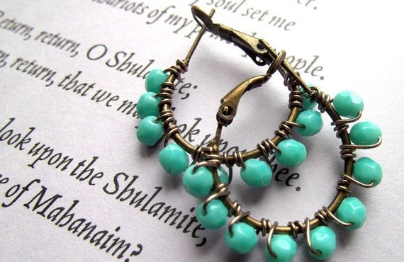 Copper Earrings, Aqua, Wire Wrapped, Holiday, Christmas, Beadwork, Turquoise, Simple,