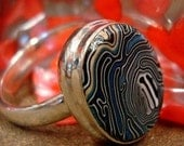 Blue Wave Handmade Cabachon Sterling Silver Ring