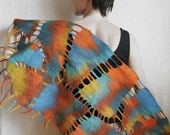 Wool Felted Wrap Scarf Multicolor
