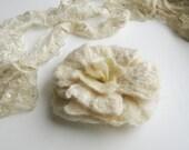 Flower Brooch felted Ivory Rose