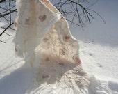 Wedding wrap nuno felted White soft pink