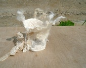 Nuno Felted Bracelet Cuff Eco White with lace