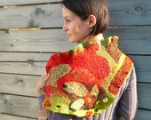 Wool nuno felted scarf triangle ruffle Red Olive Green Brown Autumn colors