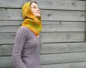 Fall Nuno felted scarf hood cowl Yellow Orange Green