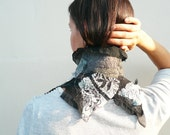 SALE Black white scarf collar nuno felted