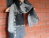 Men scarf wool felted Black Grey