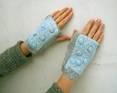 Nuno felted fingerless gloves armwarmers mittens Grey blue pebbles eco friendly recycled